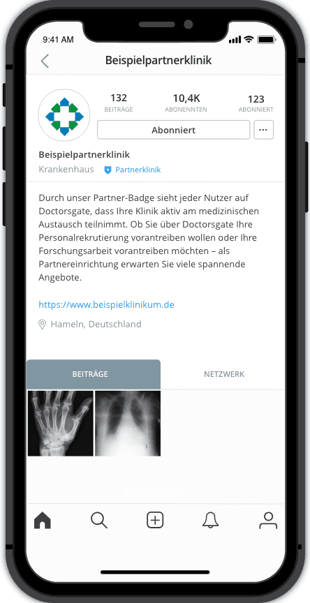 Screenshot Partnerklinik Doctorsgate App Partners