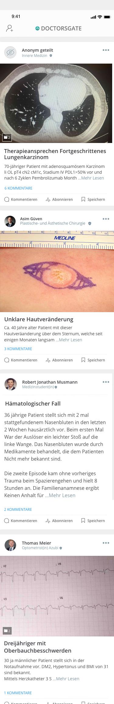 Doctorsgate app newsfeed slider mit medizinischen Fällen